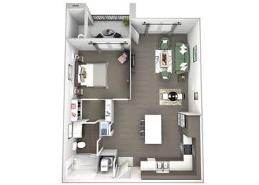 Enclave at Cherry Creek A2 1 bedroom floor plan 3D