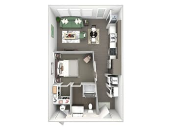 Enclave at Cherry Creek A studio floor plan 3D