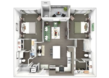 Enclave at Cherry Creek B1 2 bedroom floor plan 3D