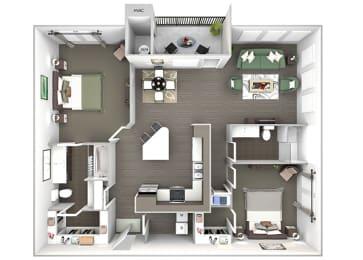 Enclave at Cherry Creek B3 2 bedroom floor plan 3D