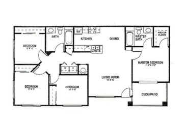 4x2 Floor plans available at Agave Apartments in Elk Grove, CA 95757