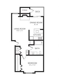 Loon – 1 Bedroom 1 Bath Floor Plan Layout – 700 Square Feet