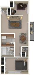 Floor Plan One Bedroom + Den