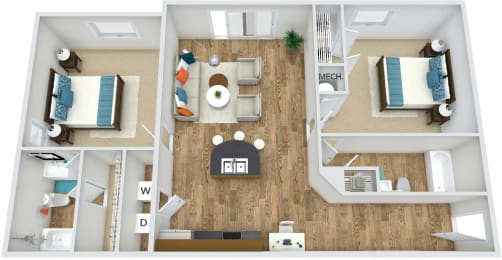 Floor Plan B1 at Rose Heights apartment Raleigh, NC