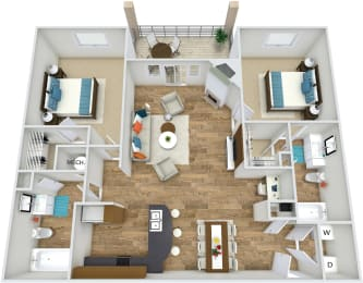 Floor Plan B2 at Rose Heights apartment Raleigh, NC