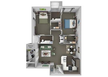 Preserve at Blue Ravine - B2 - White Adler - 2 bedroom - 2 bath - 3D