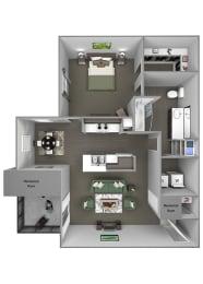 Grand Centennial Floor Plan A2 The Sundance - 1 bedroom 1 bath - 3D