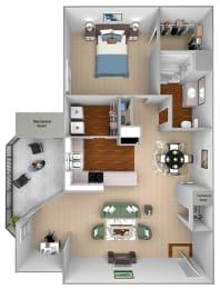Mountain Shadows - A1 (Andorra) - 1 Bedroom and 1 Bath - 3D floor plans