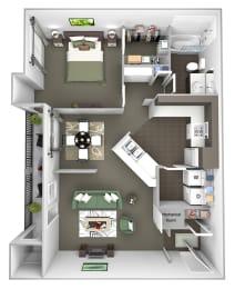 The Estates at River Pointe - A1 - 1 bedroom - 1 bathroom - 3D Floor plan