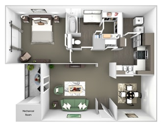 Belle Harbour Apartments - A2 - 1 bedroom and 1 bath - 3D Floor Plan
