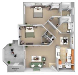 Barton Vineyard - B3 (Tuscany) - 2 bedrooms and 2 bath - 3D