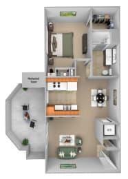Barton Vineyard - A1 (Bordeaux) - 1 bedroom and 1 bath - 3D