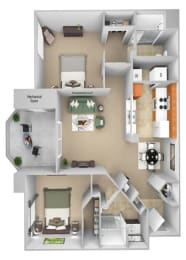 Barton Vineyard - B1 (Chablis) - 2 bedrooms and 2 bath - 3D