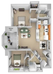 Barton Vineyard - B2 (Chablis with larger closet) - 2 bedrooms and 2 bath - 3D