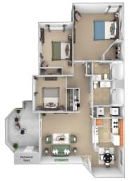Barton Vineyard - C1 (Piedmont) - 3 bedrooms and 2 bath - 3D