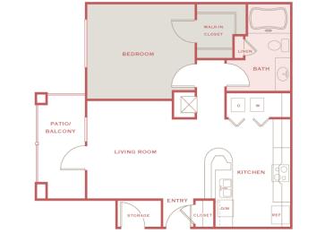 Cordillera Ranch A1 Amarillo 1 bedroom floor plan