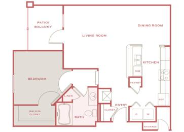 Cordillera Ranch A3 Aldona 1 bedroom floor plan