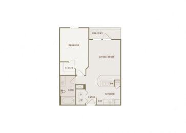 Monterra Las Colinas - A1 - 1 bedroom - 1 bath