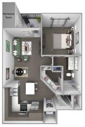 Quinn Crossing - Cedar Roughs - 1 bedroom - 1 bath - 3D floor plan