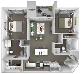 Quinn Crossing - Briones (B1) - 2 Bedroom and 2 bath - 3D Floor plan