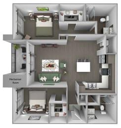Quinn Crossing - Carquinez (B3) - 2 Bedroom and 2 bath - 3D floor plan
