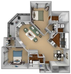 Egrets Landing Apartments - B2 (Seabreeze) - 2 bedrooms and 2 bath - 3D floor plan