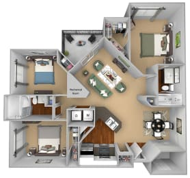 Egrets Landing Apartments - C1 (Preserve) - 3 bedrooms and 2 bath - 3D floor plan