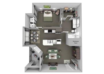 The Vineyards - A1 (Cabernet) - 1 Bed 1 Bath - 3D Floor Plans