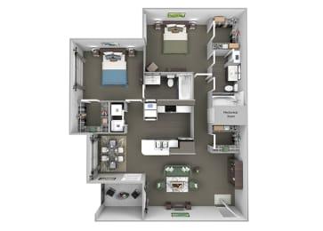 The Vineyards - B1 (Merlot) - 2 Bed 2 Bath - 2D Floor Plans
