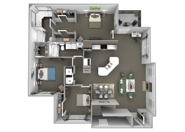 The Vineyards - C1(Zinfandel) - 3 Bed 2 Bath - 3D Floor Plans