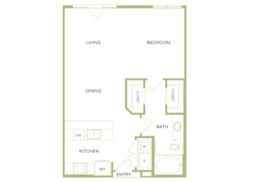 Lofts at Lakeview - A1 - 1 Bedroom 1 Bath - 2D Floor Plan