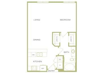 Lofts at Lakeview - A2 - 1 Bedroom 1 Bath - 2D Floor Plan