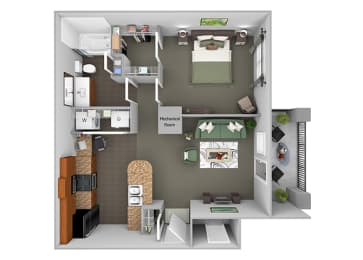 Delano at Cypress Creek - A1 (Astor) - 1 bedroom and 1 bath - 3D Floor Plans