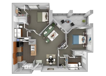 Delano at Cypress Creek - B3 (Dorchester) - 2 bedrooms and 2 bath - 3D Floor Plan