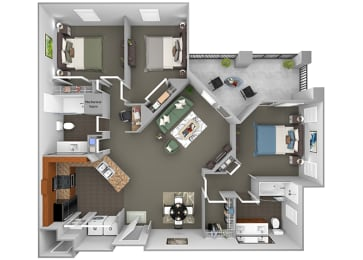 Delano at Cypress Creek - C1 (Evelyn) - 3 bedrooms and 2 bath - 3D Floor Plan