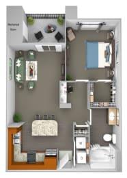 Acadia at Cornerstar - A1 (Lyra) - 1 bedroom and 1 bath - 3D