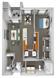 Acadia at Cornerstar - A2 (Orion) - 1 bedroom and 1 bath - 3D