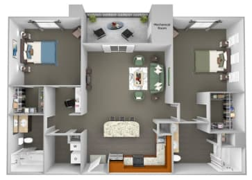 Acadia at Cornerstar - B2 (Carina) - 2 bedroom and 2 bath - 3D