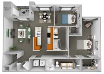 Acadia at Cornerstar - B3 (Gemini) - 2 bedroom and 2 bath - 3D