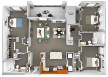 Acadia at Cornerstar - C1 (Auriga) - 3 bedroom and 2 bath - 3D