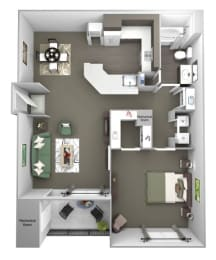 Avenel at Montgomery Square floor plans - The Wales - A2 - 1Bed 1Bath - 3D
