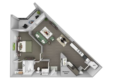 23Hundred at Berry Hill - A3 - 1 bedroom and 1 bath - 3D