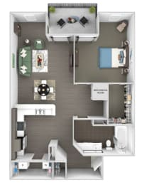 Windward Long Point - A3 - BlueJay - 1 Bedroom - 1 Bath - 3D