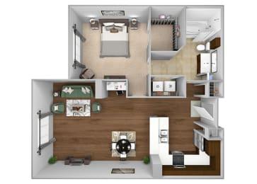 Cityplace Heights Apartments floor plan - A4 - 1Bedroom 1Bathroom - 3D