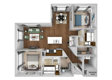 Cityplace Heights Apartments floor plan - B4 - 2Bedroom 2Bathroom - 3D