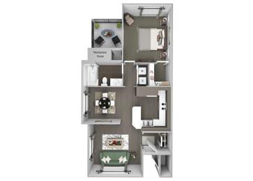 Hills of Valencia Apartments - A3 - 1 bedroom and 1 bath - 3D