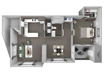 Hills of Valencia Apartments - A4 - 1 bedroom and 1 bath - 3D
