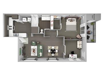 Hills of Valencia Apartments - A5 (with den) - 1 bedroom and 1 bath - 3D