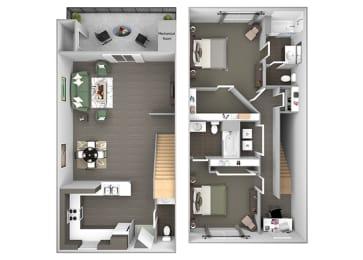 Hills of Valencia Apartments - B3L Townhouse - 2 bedrooms and 2 bath - 3D