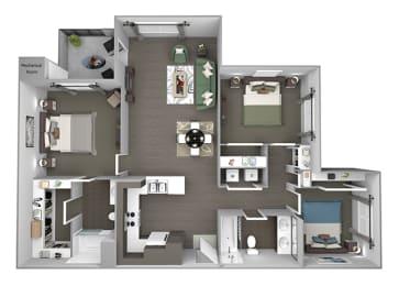 Hills of Valencia Apartments - C1 - 3 bedrooms and 2 bath - 3D